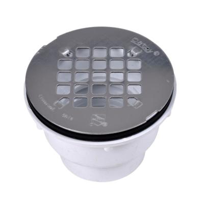 Round White PVC Shower Drain with 4-1/4 in. Round Snap-In Stainless Steel Drain Cover