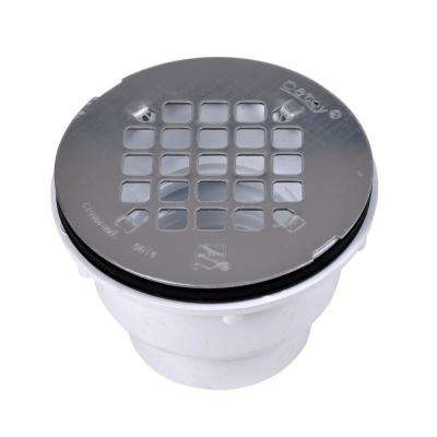 PVC Shower Drain with Round 4-1/4 in. Stainless Steel Strainer