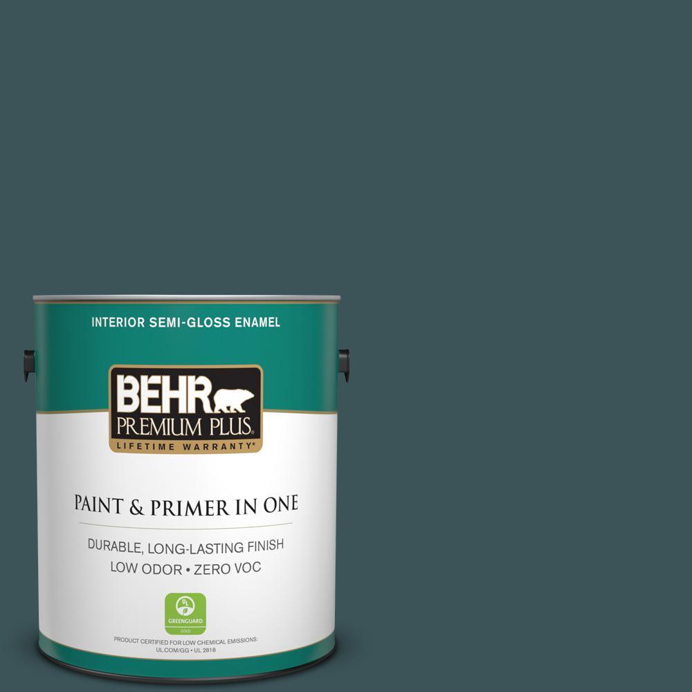 1 gal. #PPU12-01 Abysse Zero VOC Semi-Gloss Enamel Interior Paint