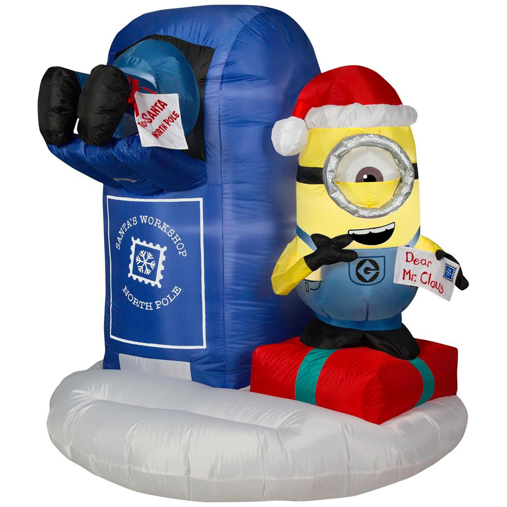 Minions Christmas.Universal 4 49 Ft Pre Lit Inflatable Minions With Mailbox Airblown Scene