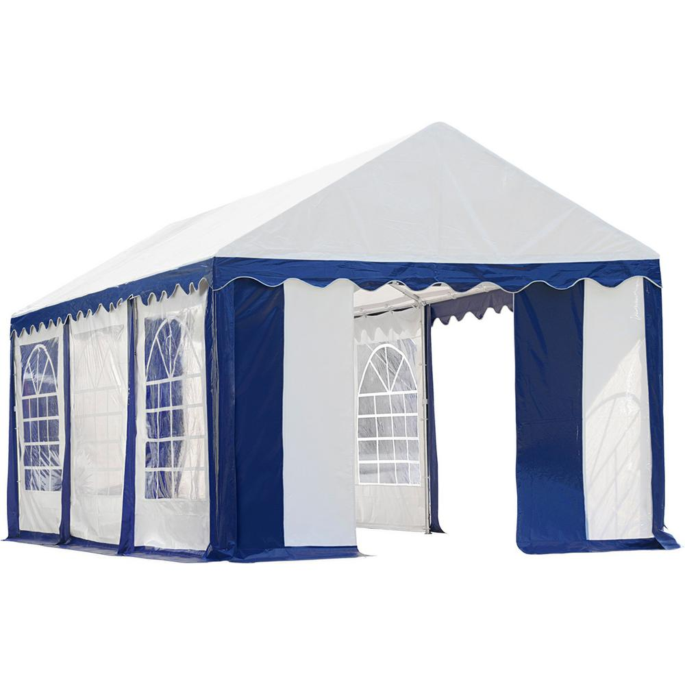 ShelterLogic 10 ft. x 20 ft. Blue/White Enclosure Kit with Windows for Party Tent (Party Tent Sold Separately)