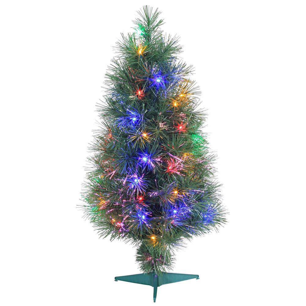 Optic Fiber Christmas Tree: Sterling 3 Ft. Pre-Lit Multicolored Fiber Optic Artificial