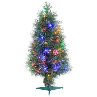 3 Ft. Pre Lit Multicolored Fiber Optic Artificial Christmas Tree ...