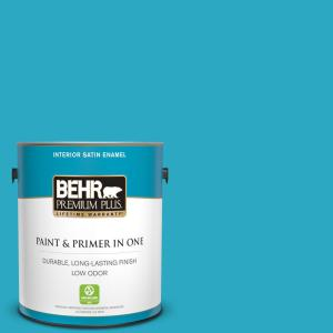 Behr Premium Plus 1 Gal P480 5 High Dive Satin Enamel Low Odor Interior Paint And Primer In One 740001 The Home Depot