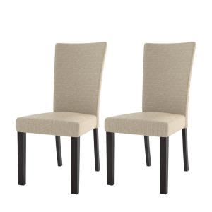 4 Corliving Bistro Woven Cream Fabric Dining Chairs