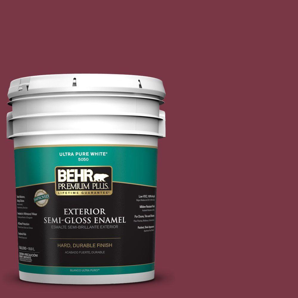 BEHR Premium Plus 5-gal. #S-H-110 Wine Tasting Semi-Gloss Enamel Exterior Paint, Reds/Pinks