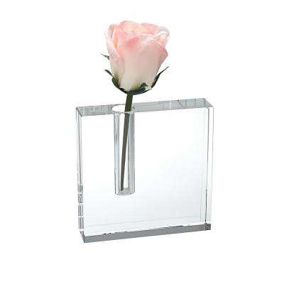 5 in. x 5 in. Block Handcrafted Crystal Bud Vase