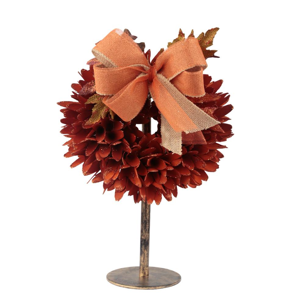 Home Accents Holiday 15 in. Tall Orange Spiked Wood Curl Wreath on a Stand