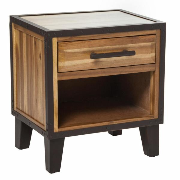 Noble House Natural Stained Wood Finish End Table with Drawer and
