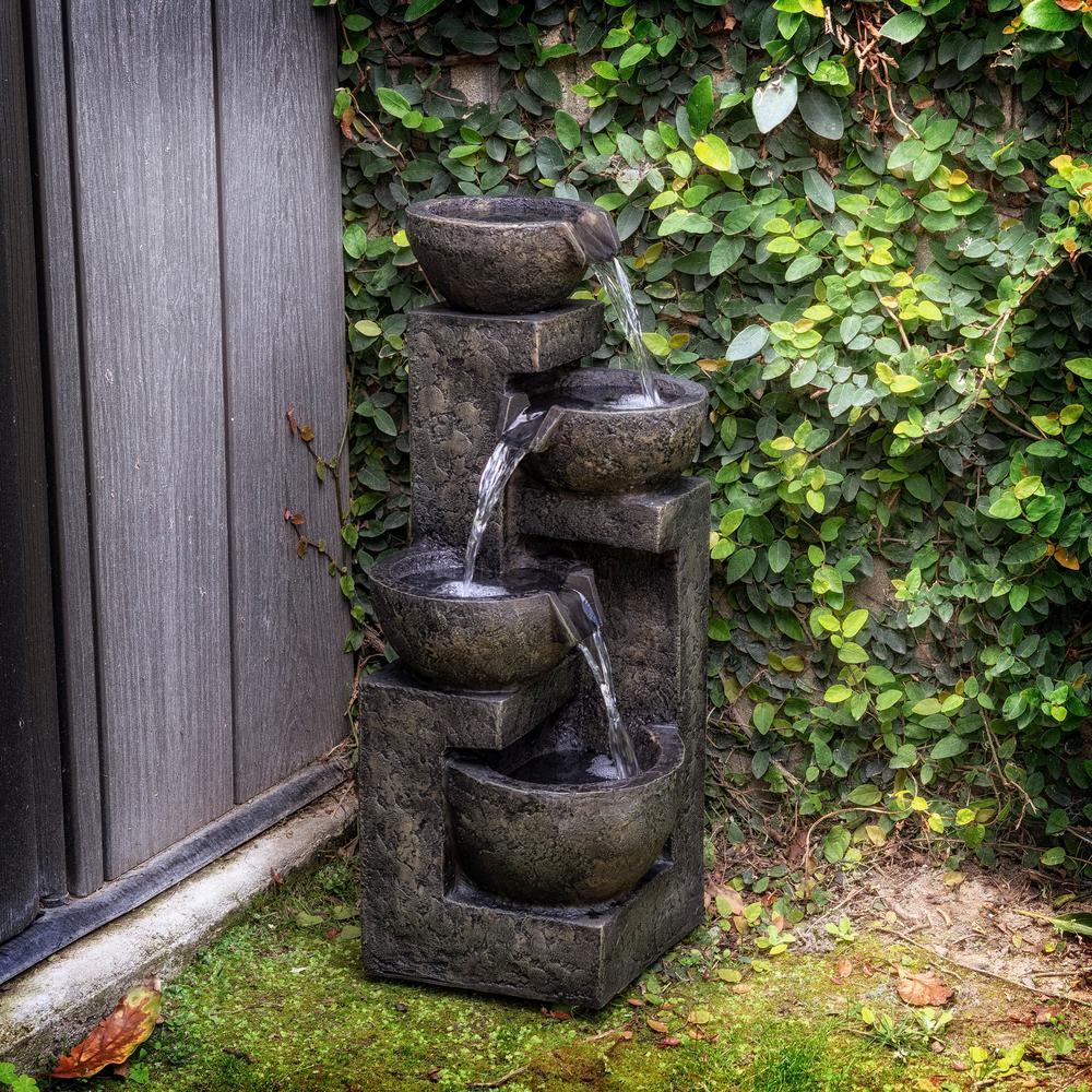 Fiberglass Fountains Outdoor Decor The Home Depot