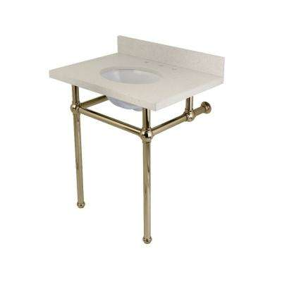 Washstand 30 in. Console Table in White Quartz with Metal Legs in Polished Nickel