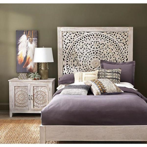 Home Decorators Collection Chennai Whitewash King Bed Hd 10121 The Home Depot