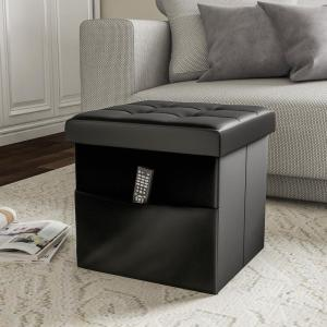 Excellent Lavish Home Black Faux Leather Foldable Storage Cube Ottoman Gmtry Best Dining Table And Chair Ideas Images Gmtryco
