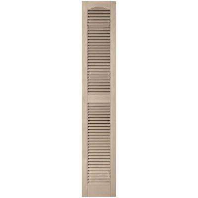 12 in. x 67 in. Louvered Vinyl Exterior Shutters Pair in #023 Wicker