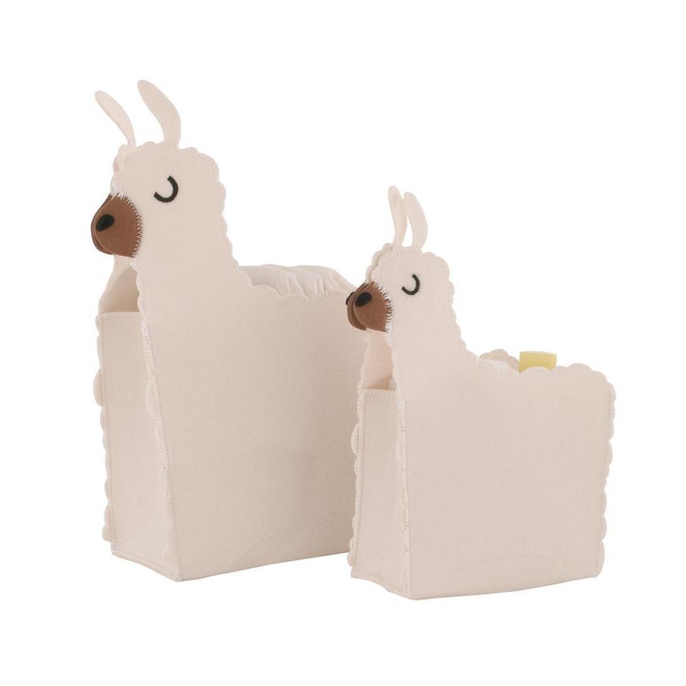 White Felt Llama Shaped 2-Piece Nursery Storage Caddy Set