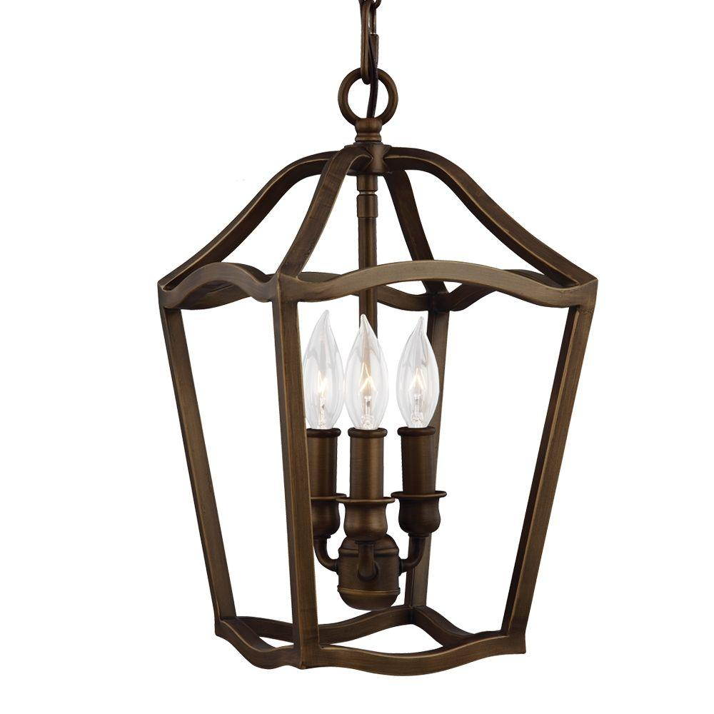 Yarmouth 3-Light Painted Aged Brass Hall Fixture Chandelier