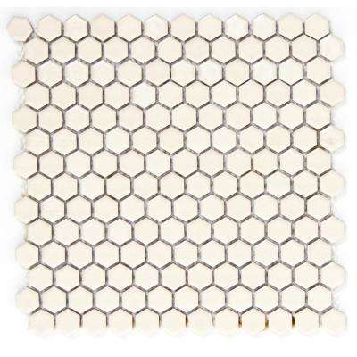 Confetti Cream Gloss/Matte Mix 11.81 in. x 11.81 in. x 8mm Porcelain Mesh-Mounted Mosaic Tile
