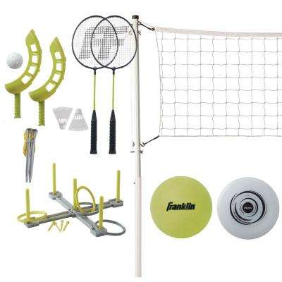 Fun 5 Combo Set Badminton, Volleyball, Ring Toss, Flip Toss, Flying Disc
