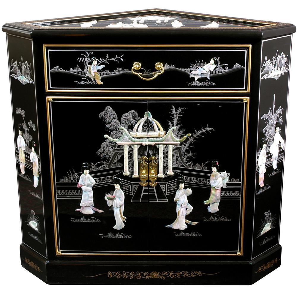 Oriental Furniture Black Lacquer Las Corner Cabinet