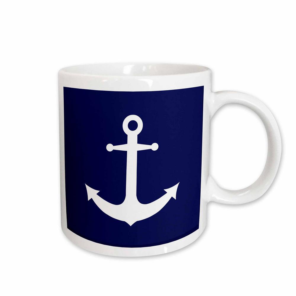 Janna Salak Designs Nautical Navy Blue and White Nautical Anchor Design 11 oz. White Ceramic Coffee Cup