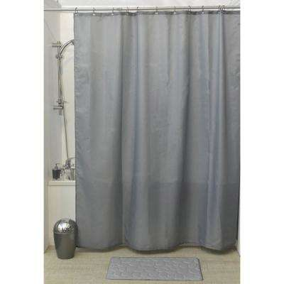 Design S Fabric 79 in.Polyester Shower Curtain with 12 Matching Rings Grey