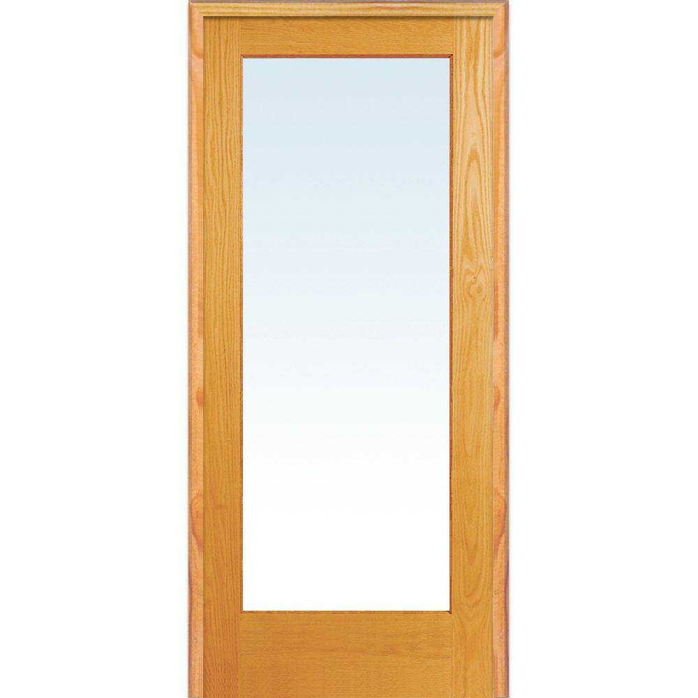 Left Handed Unfinished Pine Wood Clear Gl Full Lite Single Prehung Interior Door