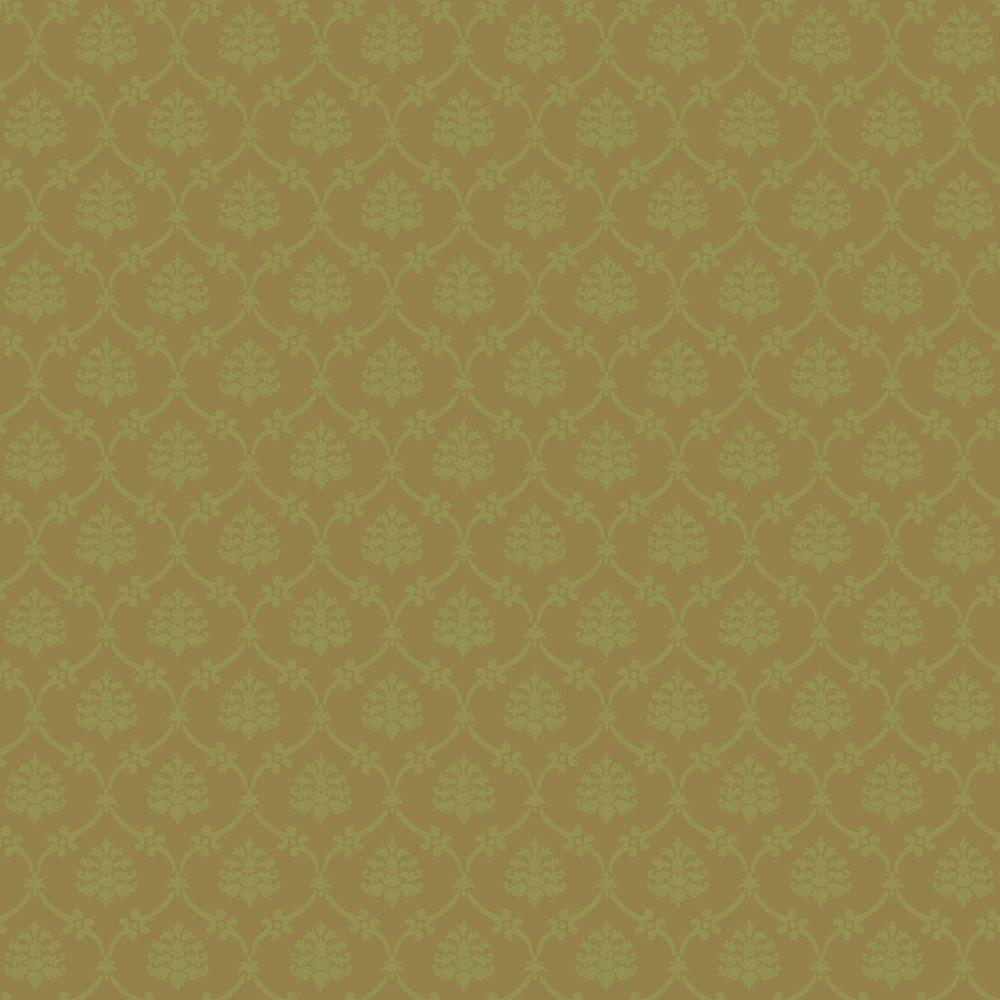 The Wallpaper Company 56 sq. ft. Gold And Mint Linked Medallions Wallpaper