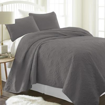 Damask Gray King Performance Quilted Coverlet Set