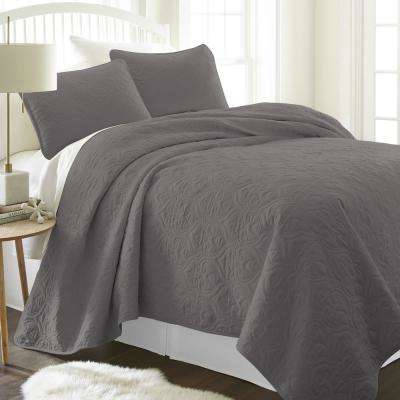 Damask Gray Queen Performance Quilted Coverlet Set