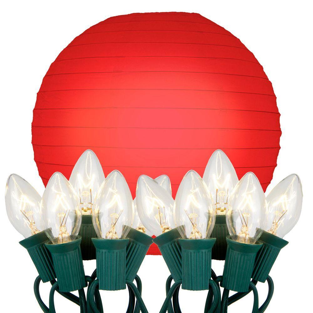 10 Light Red Paper Lantern String Lights