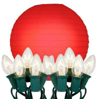 10 in. 10-Light Red Paper Lantern String Lights