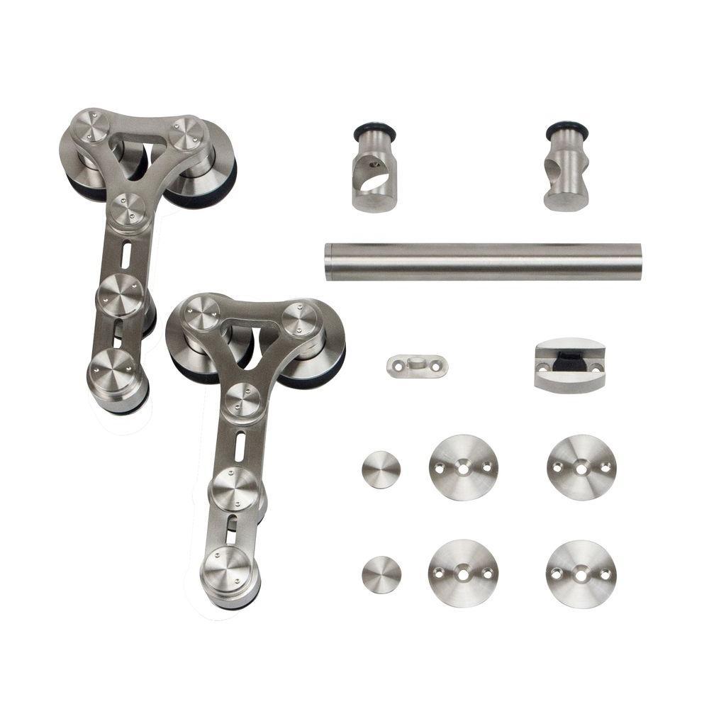 Stainless Steel Dual Wheel Strap Rolling Door Hardware for Wood or Glass Door