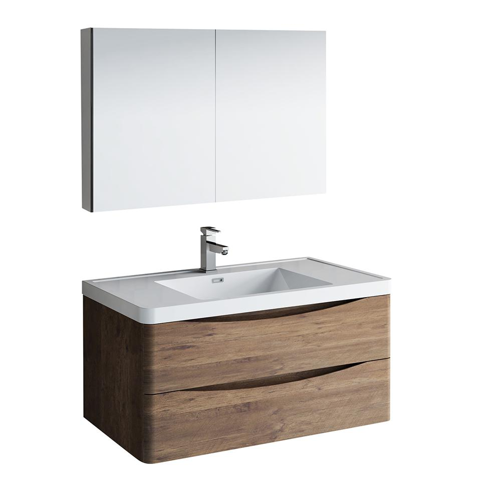 Modern Wall Hung Bath Vanity In Rosewood With Top White Basin And Medicine Cabinet