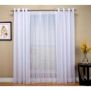 Click here to buy  Sheer 54 inch W x 96 inch L Grommet Curtain Panel in White.