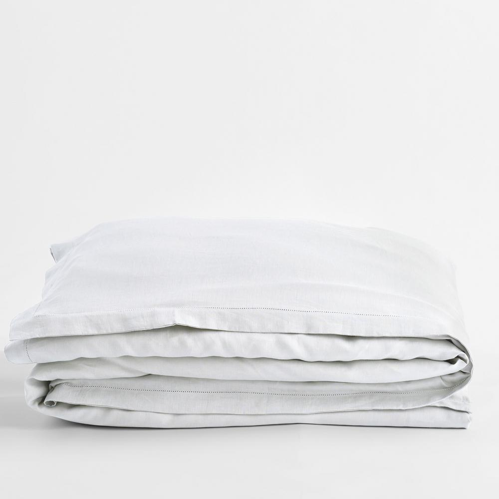 Solid Washed White Linen King Duvet Cover
