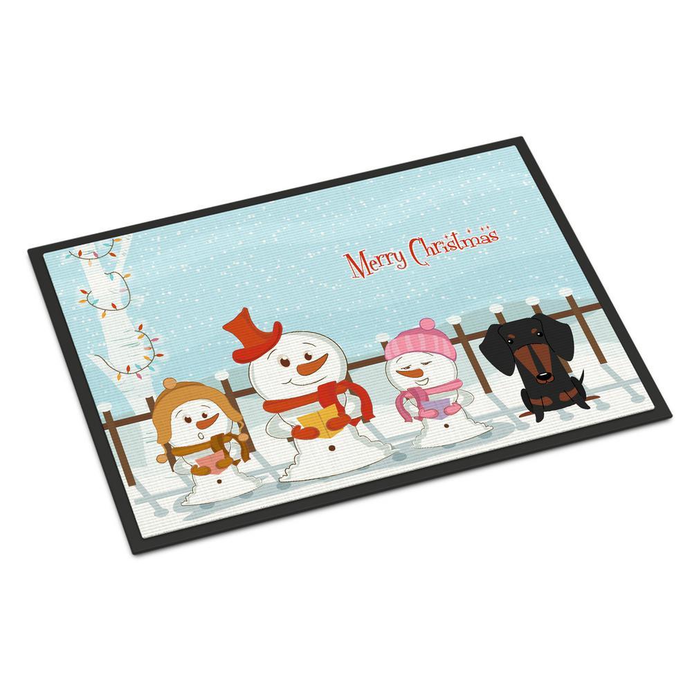 18 in. x 27 in. Indoor/Outdoor Merry Christmas Carolers Dachshund Black Tan Door Mat