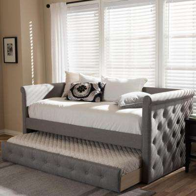 alena gray fabric upholstered twin size daybed