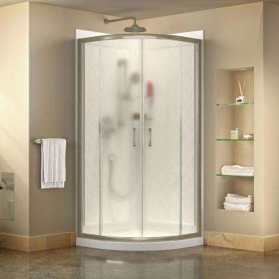 Prime 36 in. x 76-3/4 in. Semi-Frameless Corner Sliding Shower Enclosure in Brushed Nickel with Base and Backwall