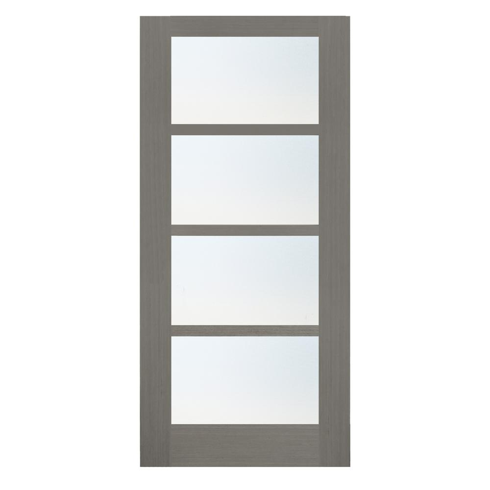 36 in. x 84 in. 4-Lite Driftwood Clear Coat Wood Interior
