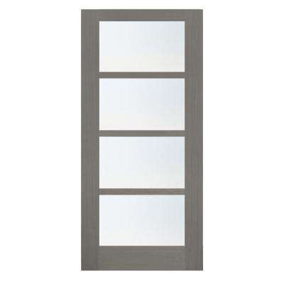 36 in. x 84 in. 4-Lite Driftwood Clear Coat Wood Interior Barn Door Slab