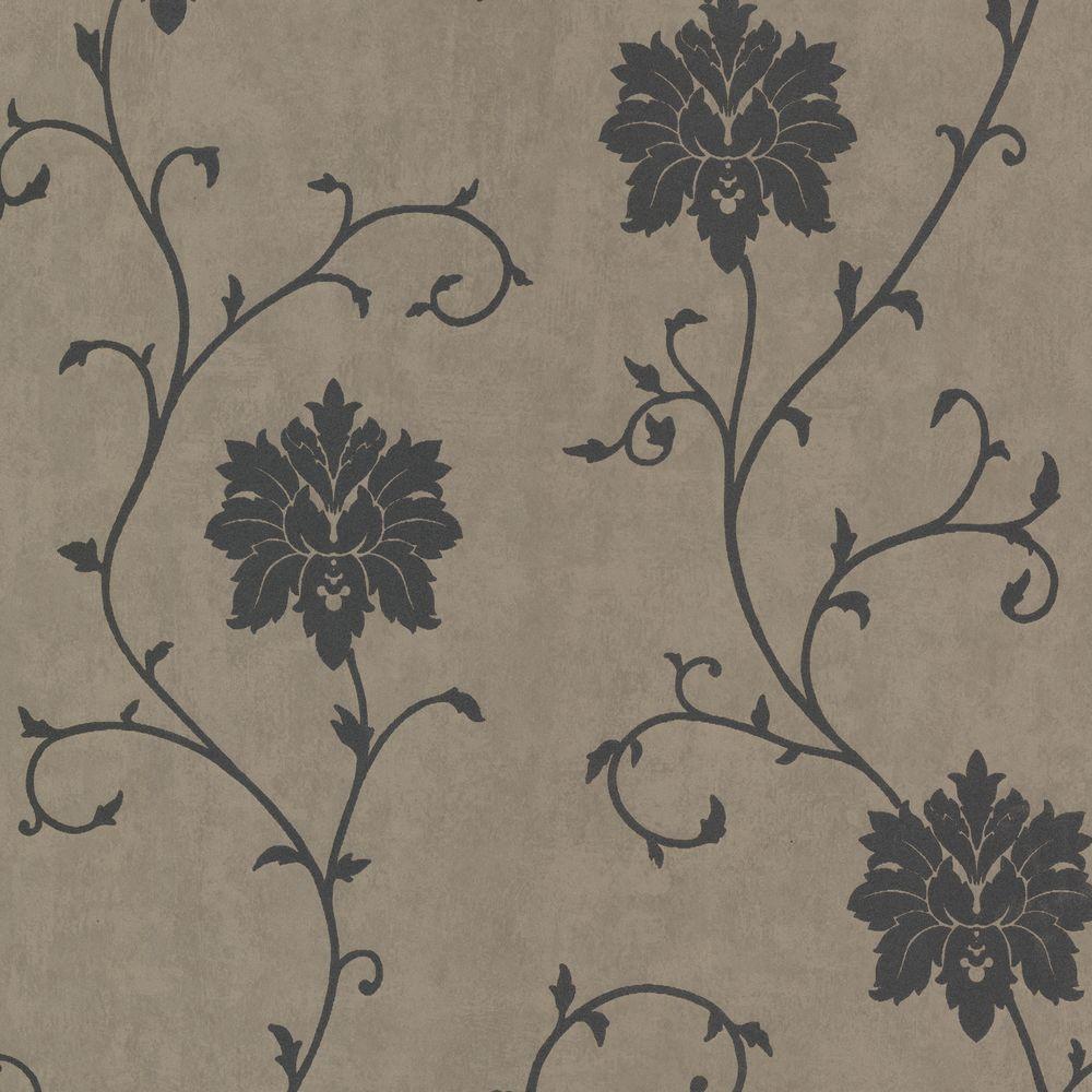 Dahli Gray Floral Trail Wallpaper