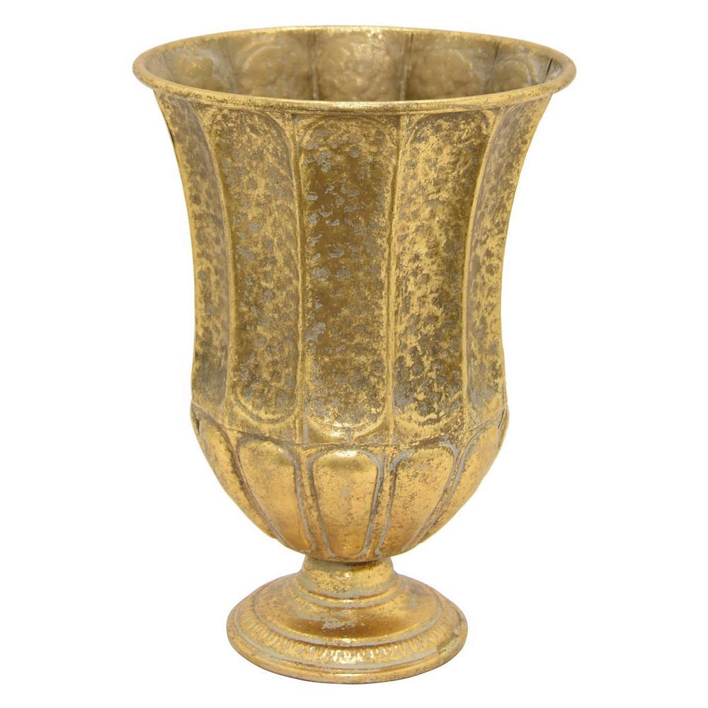 16 in. Gold Metal Decorative Vase