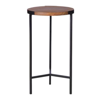 StyleWell Round Black Finish Metal End Table with Haze Finish Wood Top (12 in. W x 21.5 in. H)