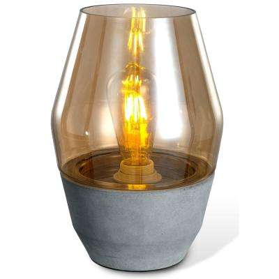 Colma 11.5 in. Grey and Amber Table Lamp with Concrete Base