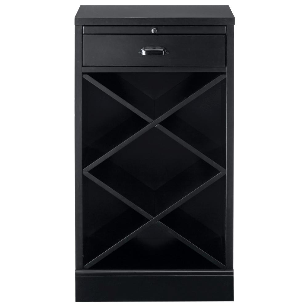 Home Decorators Collection Quentin Black Modular Bar Base With Wine Rack