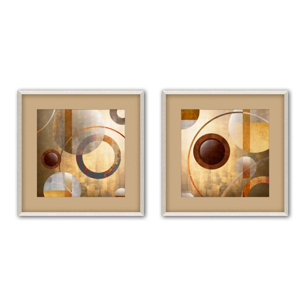 "PTM Images 17.5 in. x 17.5 in. ""Circle Fusion"" Matted Framed Wall Art (Set of 2)"