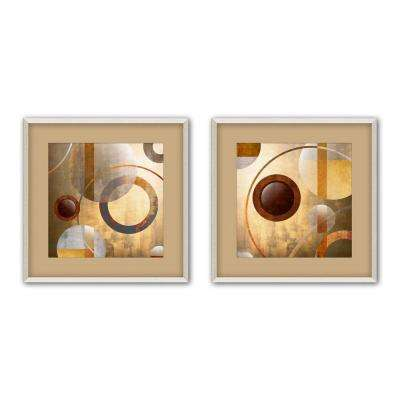 """17.5 in. x 17.5 in. """"Circle Fusion"""" Matted Framed Wall Art (Set of 2)"""