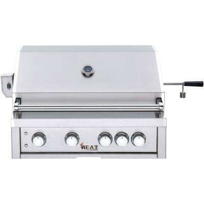 32 in. 4-Burner Built-In Liquid Propane Gas Grill in Stainless Steel with 1 Infrared Burner