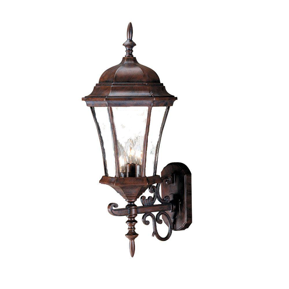 Brynmawr Collection 3-Light Burled Walnut Outdoor Wall-Mount Light Fixture
