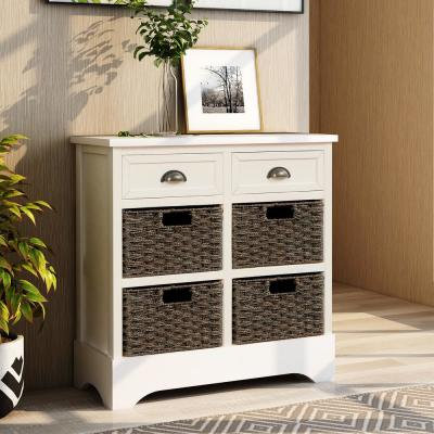 White Rustic Storage Cabinet with 2-Drawers and 4-Classic Fabric Basket